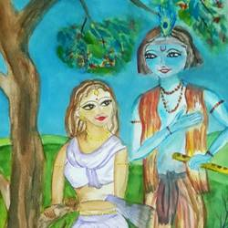 krishna's confession of love, 12 x 17 inch, tripta nair,12x17inch,brustro watercolor paper,paintings,radha krishna paintings,watercolor,GAL01718928438