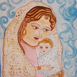 mother and child, 12 x 17 inch, tripta nair,12x17inch,brustro watercolor paper,paintings,figurative paintings,portrait paintings,baby paintings,watercolor,GAL01718928440