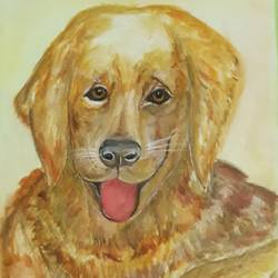 a trustworthy companion, 12 x 17 inch, tripta nair,12x17inch,brustro watercolor paper,animal paintings,dog painting,poster color,watercolor,GAL01718928441