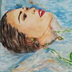 woman afloat in a swimming pool, 17 x 12 inch, tripta nair,17x12inch,brustro watercolor paper,paintings,figurative paintings,portrait paintings,contemporary paintings,water fountain paintings,watercolor,GAL01718928443