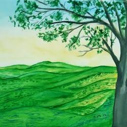 a glimpse of the tea garden, 17 x 12 inch, tripta nair,17x12inch,brustro watercolor paper,paintings,landscape paintings,nature paintings | scenery paintings,poster color,watercolor,GAL01718928444