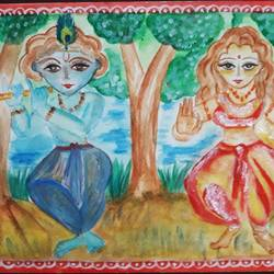 radhakrishna, 12 x 9 inch, tripta nair,12x9inch,brustro watercolor paper,paintings,religious paintings,radha krishna paintings,poster color,watercolor,GAL01718928446