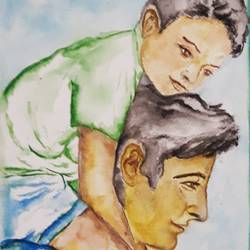 father and son, 9 x 12 inch, tripta nair,9x12inch,brustro watercolor paper,paintings,figurative paintings,realistic paintings,children paintings,poster color,watercolor,GAL01718928448