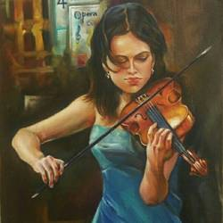 music angel, 12 x 18 inch, priya  sabapathy,realistic paintings,paintings for living room,canvas,oil,12x18inch,GAL011142845