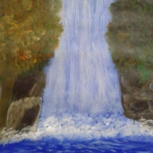 falls between the lush trees, 34 x 27 inch, divya g,34x27inch,thick paper,landscape paintings,paintings for dining room,paintings for living room,paintings for bedroom,paintings for office,paintings for dining room,paintings for living room,paintings for bedroom,paintings for office,acrylic color,paper,GAL01722028456