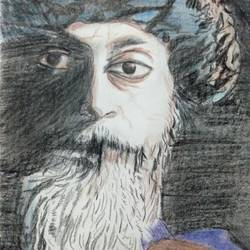 osho, 5 x 8 inch, gargi tiwari,5x8inch,paper,paintings,portrait paintings,paintings for living room,paintings for office,paintings for kids room,paintings for hotel,paintings for school,charcoal,pencil color,GAL01708428465