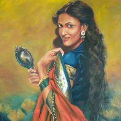 indian lady with a mirror , 30 x 36 inch, geetu thakur,30x36inch,canvas,paintings,expressionism paintings,illustration paintings,portraiture,realism paintings,paintings for dining room,paintings for living room,paintings for bedroom,paintings for office,paintings for hotel,paintings for school,oil color,GAL01726128467