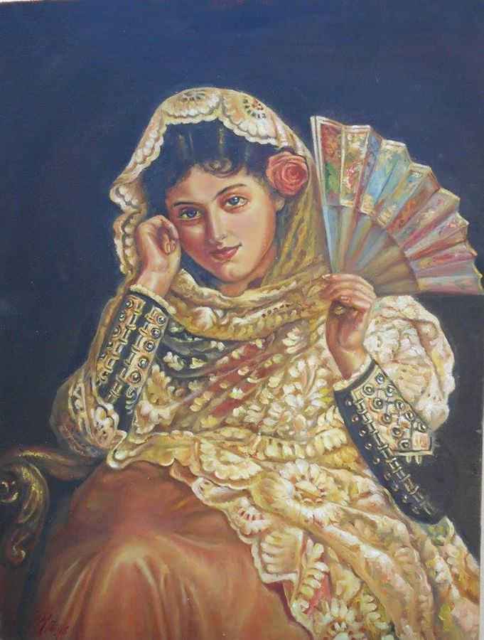 a girl with fan, 12 x 16 inch, priya  sabapathy,realistic paintings,paintings for living room,figurative paintings,canvas,oil paint,12x16inch,GAL011142847