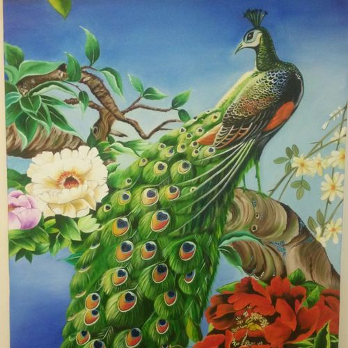 peacock , 26 x 30 inch, geetu thakur,26x30inch,canvas,paintings,wildlife paintings,landscape paintings,modern art paintings,nature paintings | scenery paintings,expressionism paintings,impressionist paintings,realism paintings,animal paintings,realistic paintings,paintings for dining room,paintings for living room,paintings for bedroom,paintings for office,paintings for kids room,paintings for hotel,paintings for school,paintings for hospital,oil color,GAL01726128474