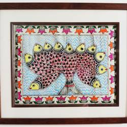 fish mithila painting, 11 x 14 inch, shruti aryan,11x14inch,cloth,paintings,folk art paintings,madhubani paintings | madhubani art,acrylic color,fabric,GAL01726628480