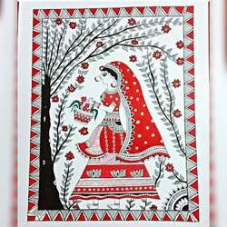 lady in the garden, 10 x 14 inch, shruti aryan,10x14inch,thick paper,paintings,madhubani paintings | madhubani art,paintings for dining room,paintings for living room,acrylic color,fabric,paper,GAL01726628482