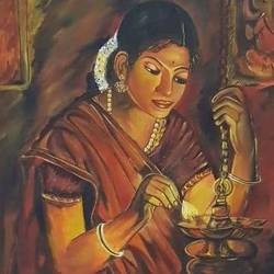 a lady in devalyam, 30 x 60 inch, gargi tiwari,30x60inch,canvas board,paintings,religious paintings,paintings for dining room,paintings for living room,paintings for bedroom,paintings for office,paintings for kids room,paintings for hotel,paintings for school,paintings for hospital,oil color,GAL01708428488