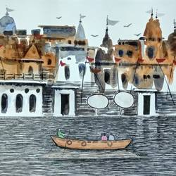varanasi ghat, 11 x 8 inch, girish chandra vidyaratna,11x8inch,paper,paintings,religious paintings,paintings for living room,watercolor,GAL03628489