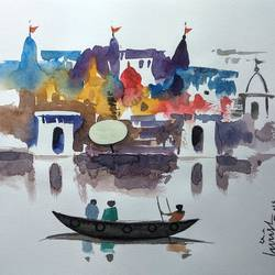 varanasi ghat, 11 x 8 inch, girish chandra vidyaratna,11x8inch,paper,paintings,religious paintings,paintings for living room,watercolor,GAL03628491