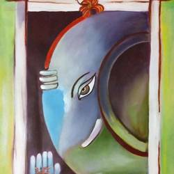 ganesha, 14 x 20 inch, gargi tiwari,14x20inch,oil sheet,paintings,ganesha paintings | lord ganesh paintings,paintings for dining room,paintings for living room,paintings for bedroom,paintings for office,paintings for kids room,paintings for hotel,paintings for school,paintings for hospital,oil color,GAL01708428493