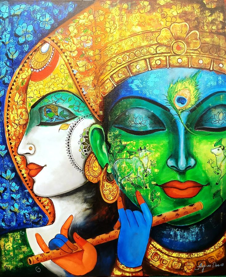 devotion of krishna 3, 36 x 42 inch, arjun das,36x42inch,canvas,paintings,radha krishna paintings,paintings for dining room,paintings for living room,paintings for hotel,acrylic color,GAL011228495