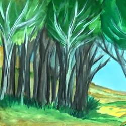 the woods, 12 x 9 inch, tripta nair,12x9inch,brustro watercolor paper,paintings,abstract paintings,landscape paintings,nature paintings | scenery paintings,poster color,watercolor,GAL01718928498