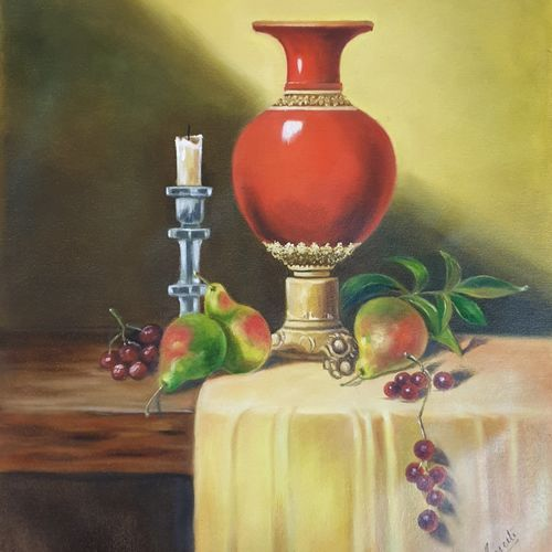 the red vase, 16 x 20 inch, sameeta bhatia,16x20inch,canvas,paintings,still life paintings,realism paintings,realistic paintings,paintings for dining room,paintings for living room,paintings for bedroom,paintings for office,paintings for bathroom,paintings for kids room,paintings for hotel,paintings for kitchen,paintings for school,paintings for hospital,oil color,GAL01565428499