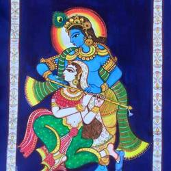 priya sakhi, 30 x 22 inch, lavanya venkatesh,religious paintings,paintings for living room,thick paper,poster color,30x22inch,GAL0117285