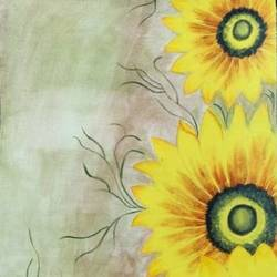 sunflower painting, 10 x 17 inch, lalit kandpal,10x17inch,canvas,paintings,flower paintings,paintings for dining room,paintings for living room,paintings for bedroom,paintings for office,acrylic color,GAL01729028502