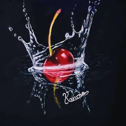 cherry dropping in water realistic painting, 10 x 17 inch, lalit kandpal,10x17inch,canvas,paintings,realistic paintings,paintings for dining room,paintings for living room,paintings for bedroom,paintings for office,acrylic color,GAL01729028504