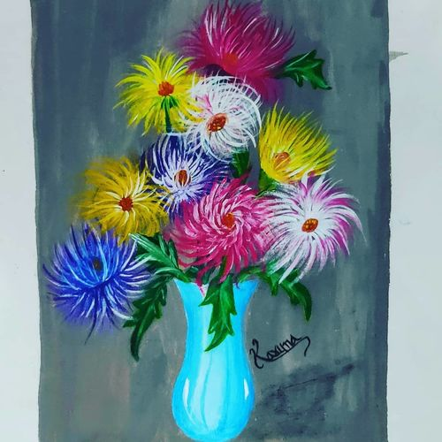 multi-color flowers in a flower pot, 10 x 17 inch, lalit kandpal,10x17inch,canvas,paintings,flower paintings,paintings for dining room,paintings for living room,paintings for office,acrylic color,GAL01729028505