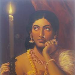 a beauty with a candle, 24 x 18 inch, priya  sabapathy,realism paintings,paintings for living room,canvas,oil,24x18inch,GAL011142851