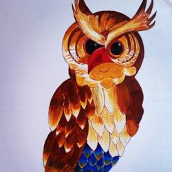 colorful owl, 10 x 17 inch, lalit kandpal,10x17inch,cloth,paintings,wildlife paintings,art deco paintings,paintings for dining room,paintings for living room,paintings for bedroom,paintings for office,acrylic color,GAL01729028514