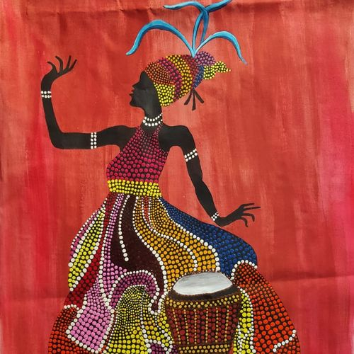 african art through dot painting, 12 x 18 inch, lalit kandpal,12x18inch,cloth,paintings,figurative paintings,folk art paintings,paintings for dining room,paintings for living room,paintings for bedroom,paintings for office,acrylic color,GAL01729028516
