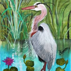 great blue heron, 8 x 11 inch, lalit kandpal,8x11inch,cloth,paintings,wildlife paintings,art deco paintings,paintings for dining room,paintings for living room,paintings for bedroom,paintings for office,paintings for kids room,paintings for hotel,paintings for school,acrylic color,GAL01729028518