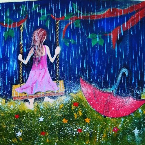 girl enjoying rains, 8 x 11 inch, lalit kandpal,8x11inch,cloth,paintings,conceptual paintings,nature paintings | scenery paintings,expressionism paintings,children paintings,kids paintings,paintings for dining room,paintings for living room,paintings for bedroom,paintings for office,acrylic color,GAL01729028519