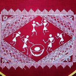 warli art, 8 x 12 inch, lalit kandpal,8x12inch,cloth,paintings,folk art paintings,religious paintings,paintings for dining room,paintings for living room,paintings for bedroom,paintings for office,acrylic color,GAL01729028520