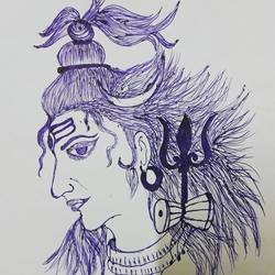 shiva, 10 x 10 inch, akash deep kujur,10x10inch,paper,drawings,paintings for living room,figurative drawings,paintings for living room,pen color,GAL01730928523