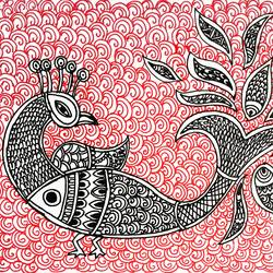madhubani painting, 10 x 10 inch, akash deep kujur,10x10inch,paper,drawings,folk drawings,paintings for living room,pen color,GAL01730928524