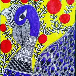 madhubani painting, 10 x 12 inch, akash deep kujur,10x12inch,paper,paintings,madhubani paintings | madhubani art,paintings for living room,acrylic color,GAL01730928526