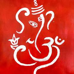 ganesha, 10 x 12 inch, akash kujur,10x12inch,paper,paintings,ganesha paintings | lord ganesh paintings,paintings for living room,acrylic color,GAL01730928527