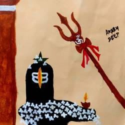 shivling, 10 x 12 inch, akash kujur,10x12inch,paper,paintings,religious paintings,paintings for living room,acrylic color,GAL01730928528