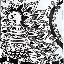 madhubani painting, 10 x 12 inch, akash kujur,10x12inch,paper,paintings,madhubani paintings | madhubani art,paintings for living room,paintings for living room,ink color,GAL01730928530