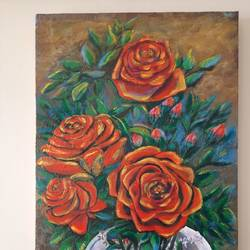 morning rose , 18 x 30 inch, rupa patel,18x30inch,canvas,flower paintings,acrylic color,oil color,GAL01734628540