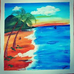 lonely beach, 17 x 17 inch, lalit kandpal,17x17inch,canvas,paintings,landscape paintings,nature paintings | scenery paintings,paintings for dining room,paintings for living room,paintings for bedroom,paintings for office,paintings for hotel,paintings for hospital,acrylic color,GAL01729028543