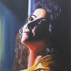 beautiful girl at shade, 12 x 16 inch, sandhya kumari,12x16inch,canvas,paintings,portrait paintings,expressionism paintings,paintings for dining room,paintings for living room,paintings for bedroom,paintings for office,paintings for kids room,paintings for hotel,paintings for kitchen,paintings for school,paintings for hospital,acrylic color,GAL0365928544