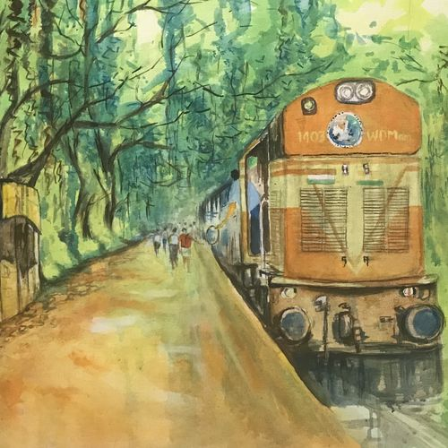 diesel engine , 37 x 24 inch, kannan ananthasubramani,37x24inch,canvas,landscape paintings,realistic paintings,paintings for living room,paintings for kids room,paintings for hospital,paintings for living room,paintings for kids room,paintings for hospital,acrylic color,GAL0923228545