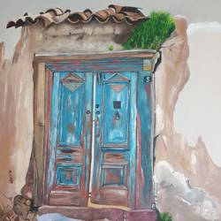 blue gate , 30 x 40 inch, shikha gupta,30x40inch,canvas,paintings,landscape paintings,paintings for dining room,paintings for living room,paintings for bedroom,paintings for office,paintings for hotel,paintings for school,paintings for hospital,oil color,GAL0573828554