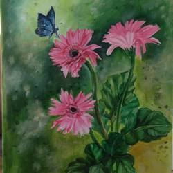 gerbera, 14 x 18 inch, ishita debnath,14x18inch,canvas,paintings,still life paintings,acrylic color,GAL01356228556