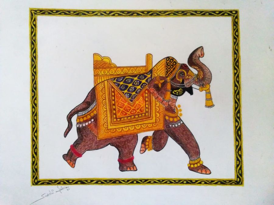 a royal elephant, 10 x 10 inch, sakshi jain,10x10inch,thick paper,drawings,paintings for dining room,paintings for living room,paintings for bedroom,paintings for office,paintings for bathroom,paintings for kids room,paintings for hotel,paintings for kitchen,paintings for school,paintings for hospital,fine art drawings,folk drawings,minimalist drawings,paintings for dining room,paintings for living room,paintings for bedroom,paintings for office,paintings for bathroom,paintings for kids room,paintings for hotel,paintings for kitchen,paintings for school,paintings for hospital,pencil color,paper,GAL01657328574