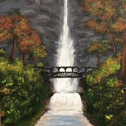 water fall , 12 x 16 inch, amit soni,12x16inch,canvas,nature paintings | scenery paintings,surrealism paintings,acrylic color,GAL01671928579