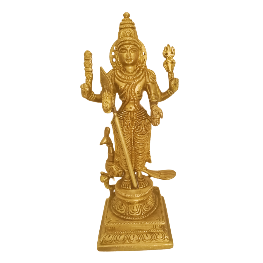 pure brass statue of god karthikeya with beautiful peacock, 3 x 9 inch, vgo cart,3x9inch,canvas board,religious statues,brass,GAL01132728595