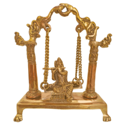 musical krishna sitting in julla and playing flute brass statue, 3 x 9 inch, vgo cart,3x9inch,canvas board,handicrafts,brass statue,brass,GAL01132728601