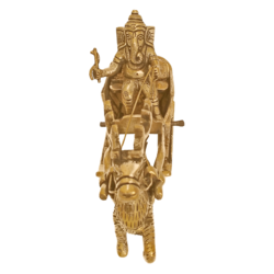 brass ganesha enjoying ride with deer in santa claus getup showpiece, 2 x 5 inch, vgo cart,2x5inch,canvas board,ganesha statue,brass,GAL01132728605