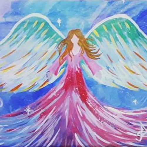 the healing angel, 17 x 12 inch, amrita kaur khalsa,expressionist paintings,paintings for living room,paper,acrylic color,17x12inch,GAL011172861